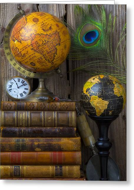 Library Greeting Cards - Globes and old books Greeting Card by Garry Gay