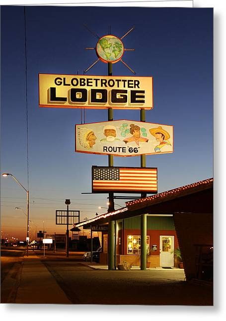 Motel Art Greeting Cards - Globetrotter Lodge - Holbrook Greeting Card by Mike McGlothlen
