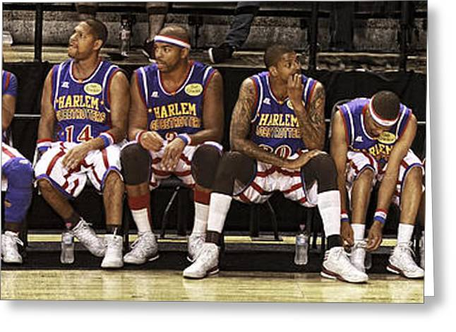 Harlem Globetrotters Greeting Cards - Globetrotters Bench Greeting Card by Alan  Reid
