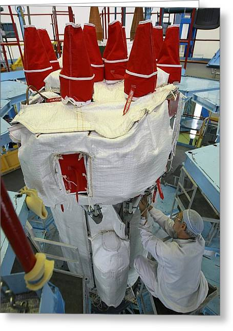 21st Greeting Cards - GLONASS satellite assembly Greeting Card by Science Photo Library