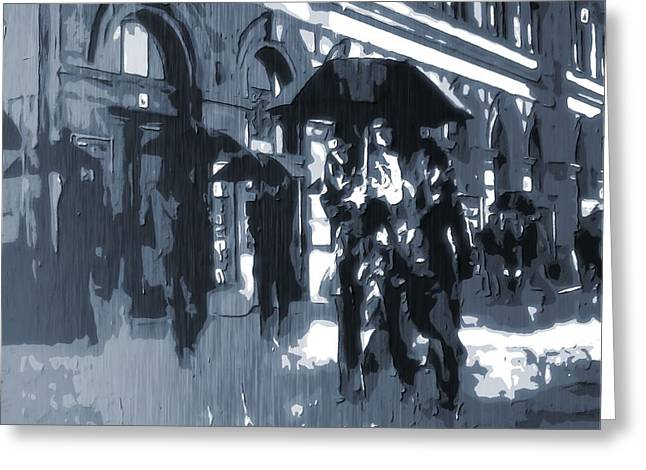 Gloomy Day In The City Greeting Card by Dan Sproul