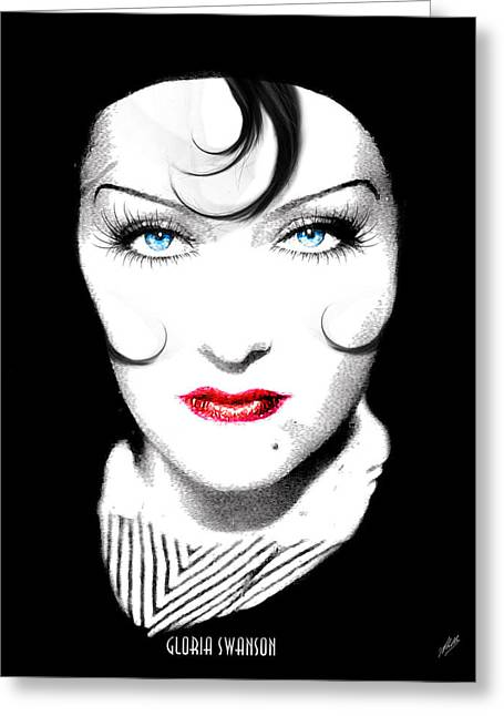 Starlet Drawings Greeting Cards - Gloria Swanson - Coco Chanel Greeting Card by Quim Abella