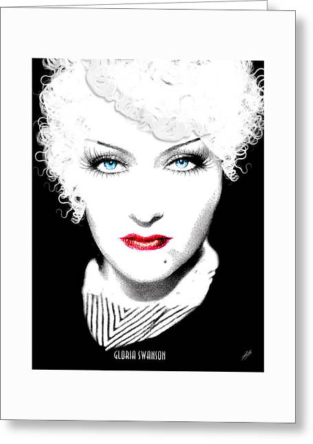 Starlet Drawings Greeting Cards - Gloria Swanson - Marlene Dietrich Greeting Card by Quim Abella