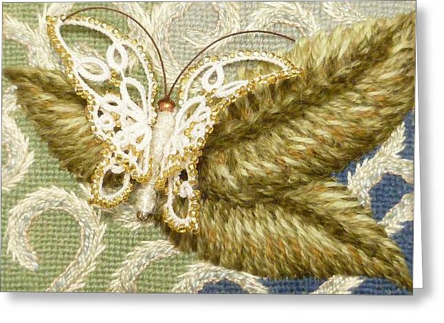 Butterfly Tapestries - Textiles Greeting Cards - Glorias Garden Greeting Card by Jennifer Kohr