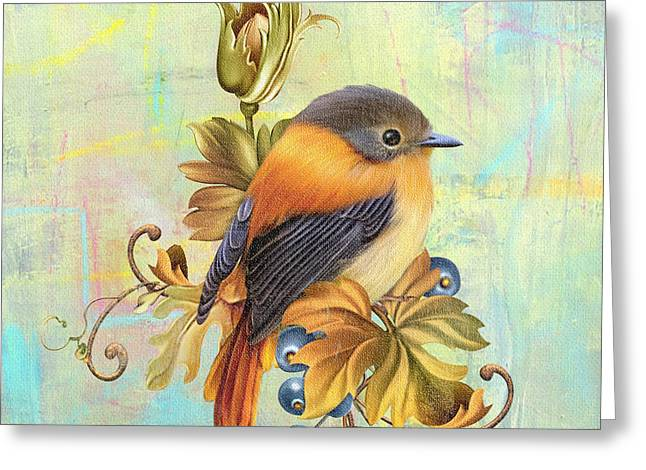 Glorious Birds On Aqua-a2 Greeting Card by Jean Plout