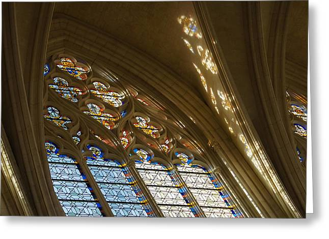 Vincennes Greeting Cards - Glorious Colorful Sunlight - a Stained Glass Church Window in a Royal Chapel Paris France Greeting Card by Georgia Mizuleva