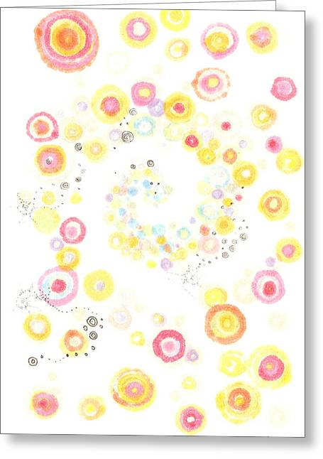 Disk Drawings Greeting Cards - Glorious Cycle Greeting Card by Regina Valluzzi