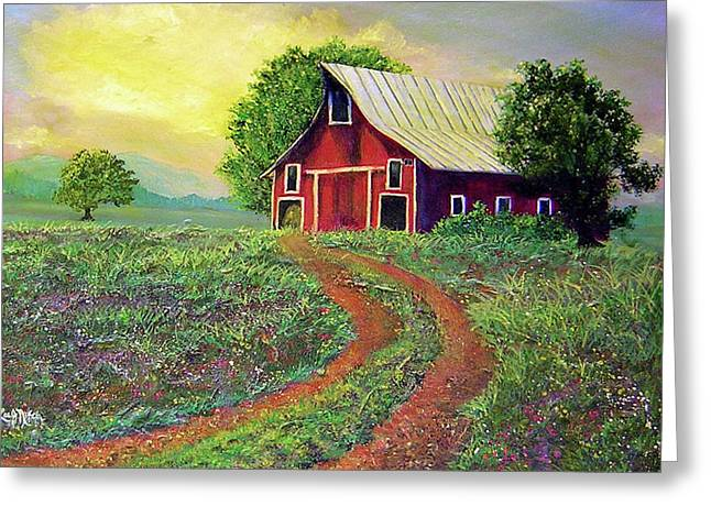 Tin Roof Paintings Greeting Cards - Glorious Day On The Farm Greeting Card by Lee Nixon