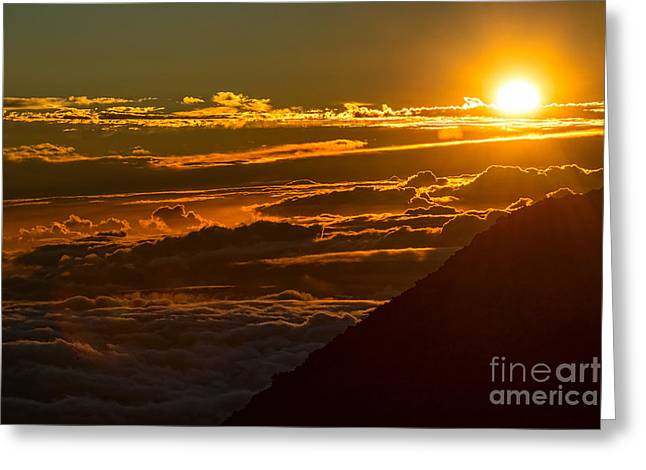 Above The Clouds Greeting Cards - Glorious Glow - the summit of Haleakala Volcano in Maui. Greeting Card by Jamie Pham