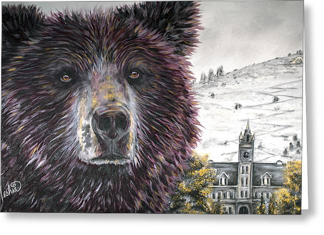 Growling Greeting Cards - Glorious Griz Greeting Card by Teshia Art