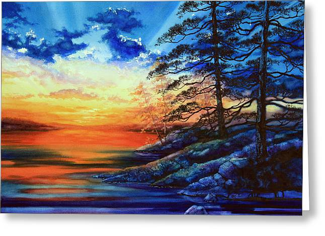 Sunset Posters Greeting Cards - Glorious Lake Sunset Greeting Card by Hanne Lore Koehler