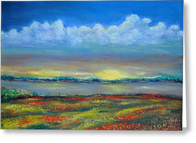 Horizon Pastels Greeting Cards - Glorious Morning Greeting Card by Alex Uson