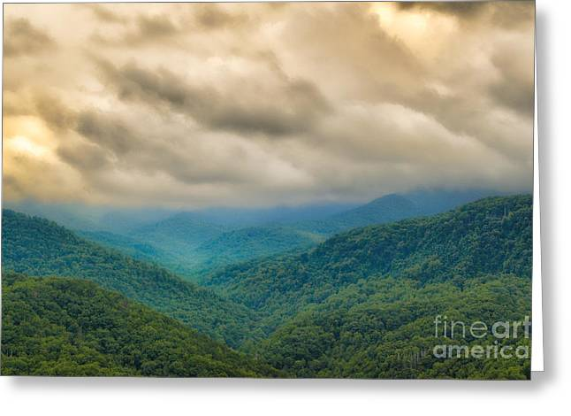 Smokey Mountains Paintings Greeting Cards - Glorious Mountains Greeting Card by Donna Murray