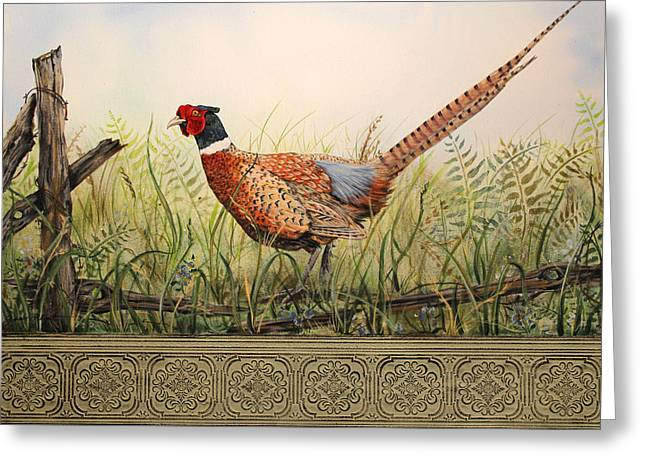Vine Leaves Greeting Cards - Glorious Pheasant-2 Greeting Card by Jean Plout