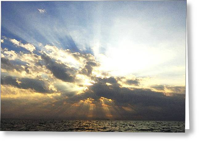 Reflection In Water Greeting Cards - Glorious Rays of Sunshine Greeting Card by Anne Mott