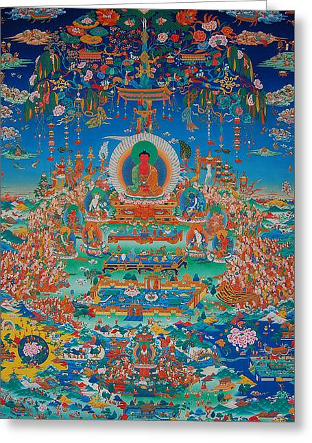 Universal Paintings Greeting Cards - Glorious Sukhavati Realm of Buddha Amitabha Greeting Card by Art School