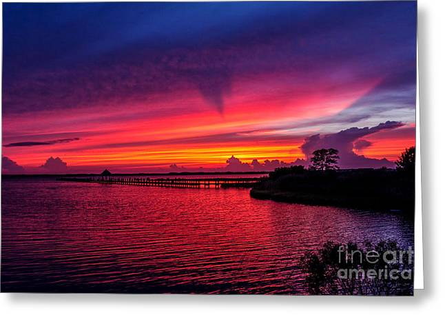 Glorious Sunset In Ocean City Maryland Greeting Card by Janet Barnes