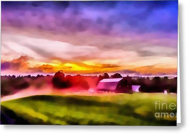 Firey Greeting Cards - Glorious Sunset on the Farm Greeting Card by Edward Fielding