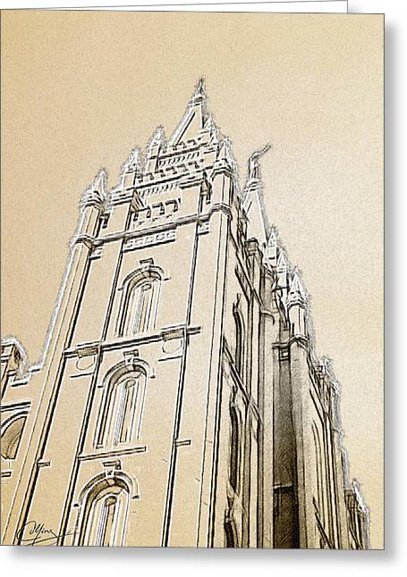 Salt Lake City Temple Digital Art Greeting Cards - Glory and Majesty Greeting Card by Greg Collins