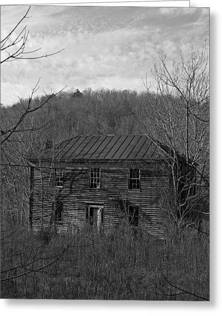 Historic Home Greeting Cards - Glory Days Gone By - Black and White Greeting Card by Suzanne Gaff