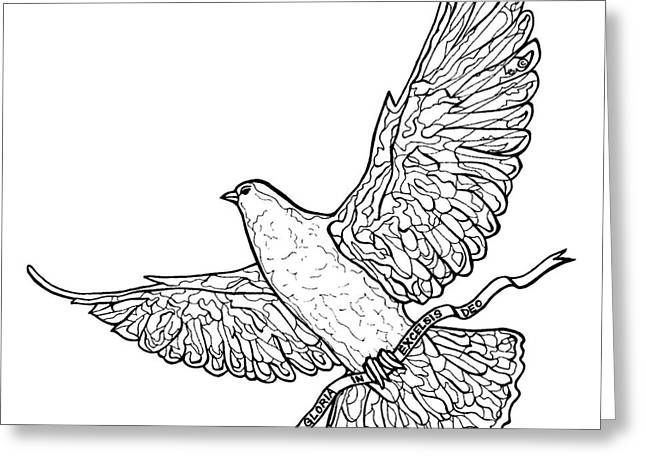 Pen And Paper Greeting Cards - Glory Dove Greeting Card by Leigh Eldred