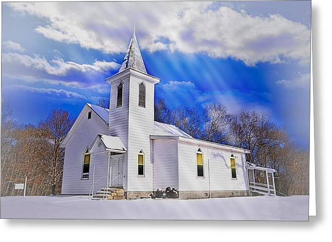Vinter Greeting Cards - Glory from High Greeting Card by Lj Lambert