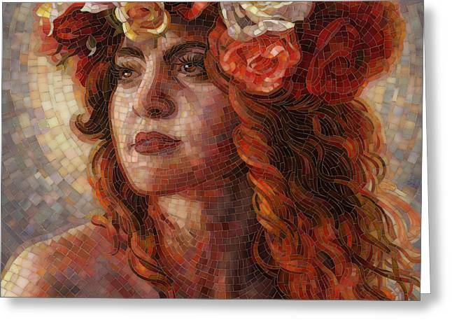Mosaic Greeting Cards - Glory Greeting Card by Mia Tavonatti