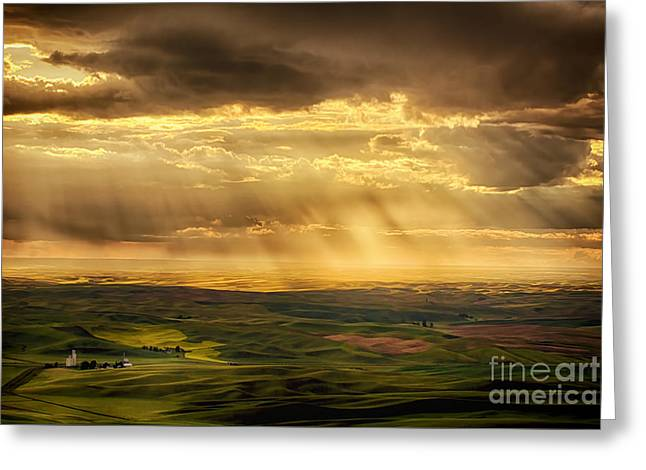 The Hills Greeting Cards - Glory Rays on the Palouse Greeting Card by Priscilla Burgers