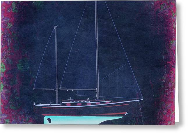 Blue Sailboat Drawings Greeting Cards - Glory Rose Greeting Card by Regina Marie Gallant
