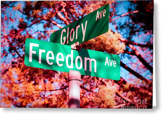 4th July Photographs Greeting Cards - Glory Signs Greeting Card by Sonja Quintero