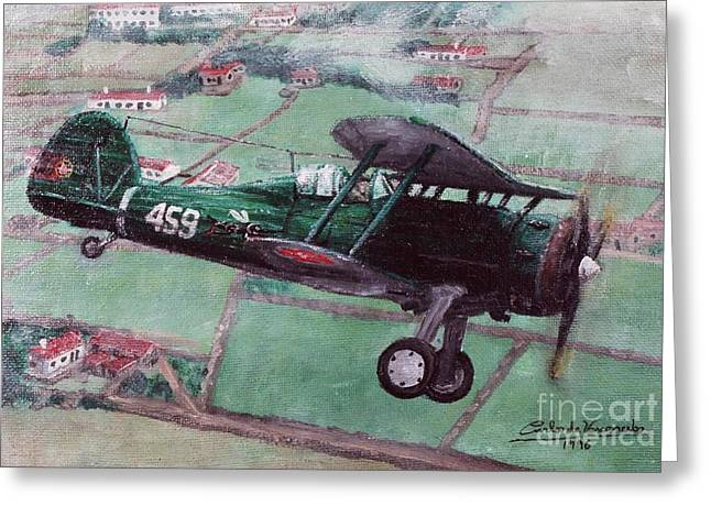 Gloster Gladiator II Greeting Card by Carlos De Vasconcelos Tavares
