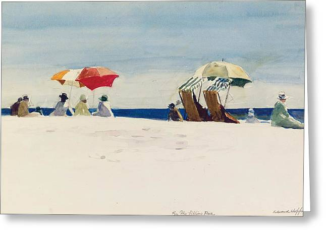 Umbrella Greeting Cards - Gloucester Beach Greeting Card by Edward Hopper