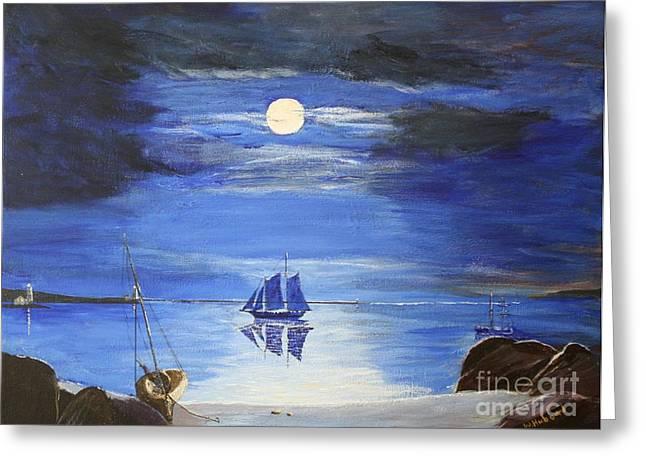 Bill Hubbard Greeting Cards - Gloucester Harbor by Moonlight Greeting Card by Bill Hubbard