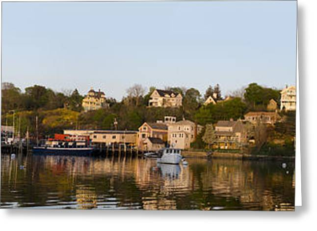 Dave Greeting Cards - Gloucester Harbor Panorama I Greeting Card by David Gordon