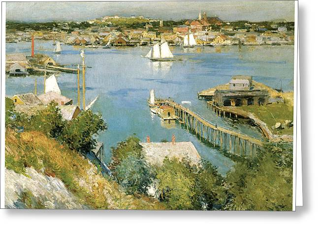 Sailboats In Harbor Greeting Cards - Gloucester Harbour Greeting Card by William Leroy Metcalf