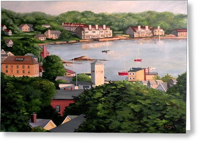Birdseye Paintings Greeting Cards - Wonson Cove Gloucester Summer 2014 Greeting Card by Eileen Patten Oliver