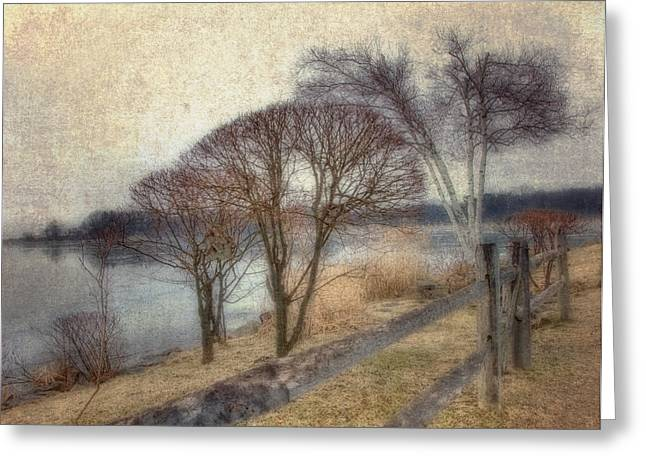 New England Winter Scene Greeting Cards - Gloucester Winter Morning - Vintage Greeting Card by Joann Vitali