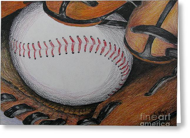 Baseball Gloves Drawings Greeting Cards - Glove and Ball Colored Pencil Sketch Greeting Card by Rob Monte