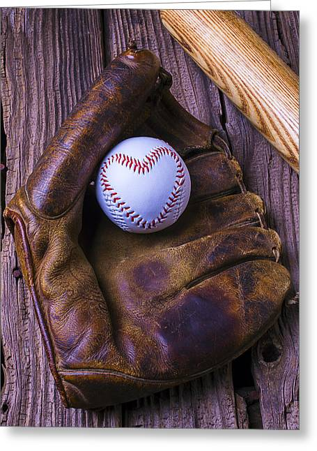 Glove Greeting Cards - Glove and heart baseball Greeting Card by Garry Gay