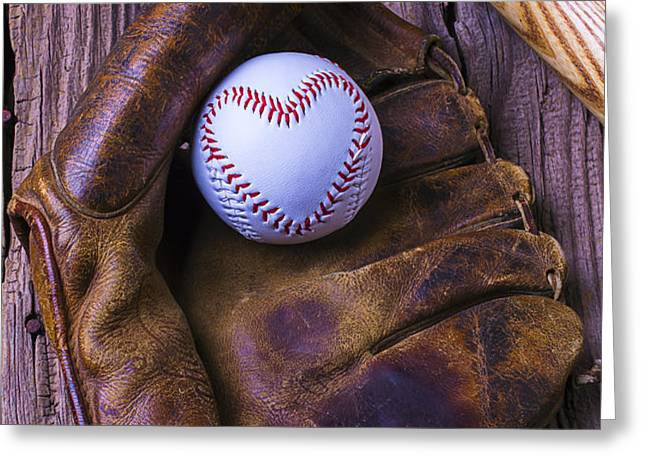 Glove and heart baseball Greeting Card by Garry Gay