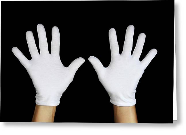 Gloved Hands Greeting Card by Cordelia Molloy