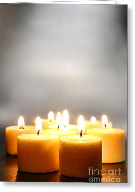 Votive Candles Greeting Cards - Glow and Smoke Greeting Card by Olivier Le Queinec