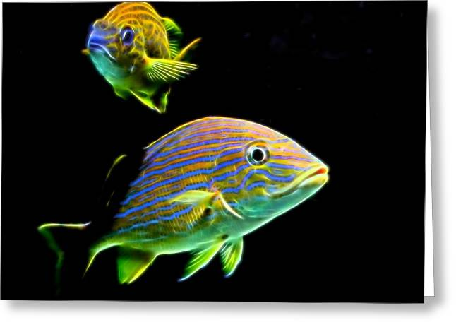 Fishkeeper Greeting Cards - Glow Fish Greeting Card by Judy Vincent