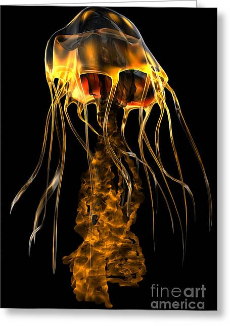 Sea Life Digital Art Greeting Cards - Glow Gold Jellyfish Greeting Card by Corey Ford