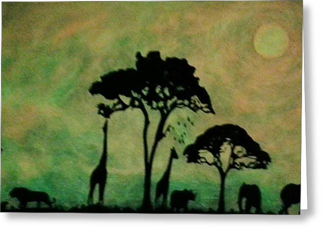 Rhinoceros Mixed Media Greeting Cards - Glow In The Dark Safari Greeting Card by Twilight Vision