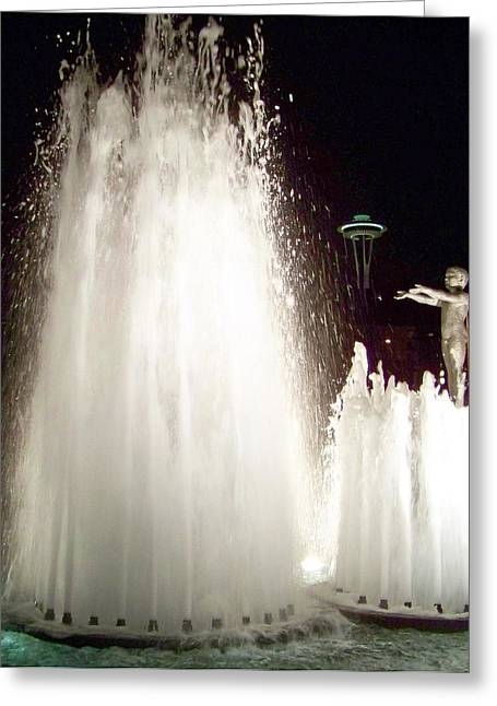 Seattle Waterfront Greeting Cards - Glow of Seattle Greeting Card by Karen Wiles