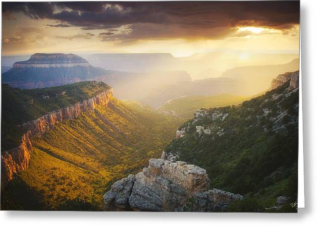 The Grand Canyon Greeting Cards - Glow of the Gods Greeting Card by Peter Coskun