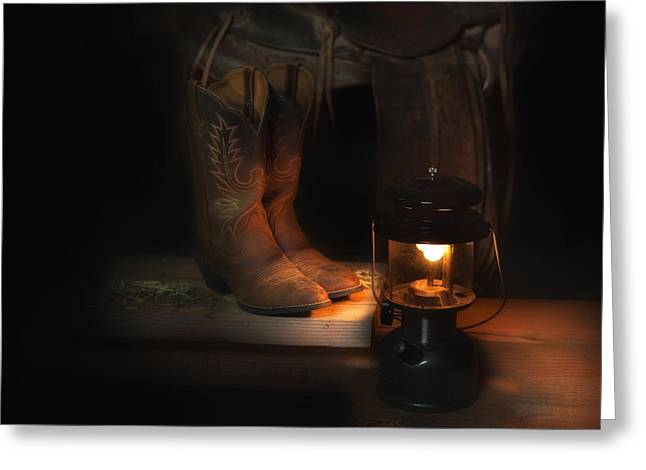 Saloons Greeting Cards - Glow of the Ranch Greeting Card by Wendy Thompson