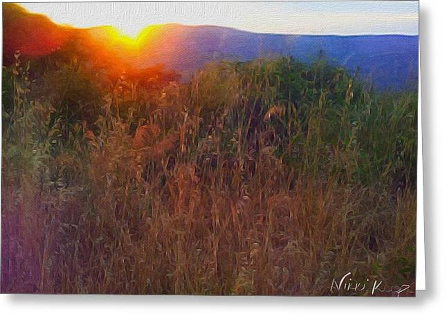 Wheat Field Sunset Print Greeting Cards - Glow Over Blue Umbrian Hills Greeting Card by Nikki Keep