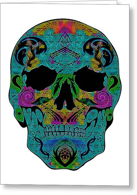 Scull Greeting Cards Greeting Cards - Glow Skull Greeting Card by Mauro Celotti